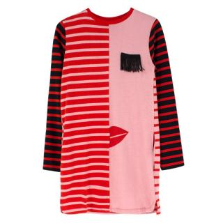 Stella McCartney Girls multi-striped eye-applique dress