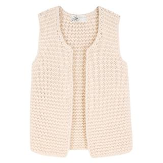 Madeleine Thompson cream wool and cashmere-blend knit gilet