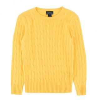 Polo by Ralph Lauren kid's yellow cashmere knit jumper