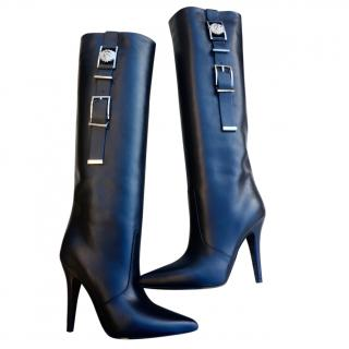 Versace Black Leather Knee High Boots