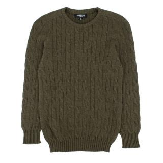 Harrods boy's green cable-knit cashmere jumper