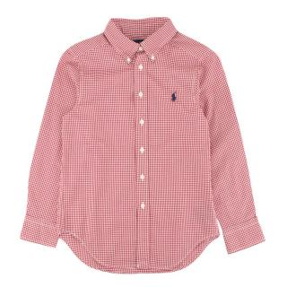 Ralph Lauren boys dark red gingham checked shirt