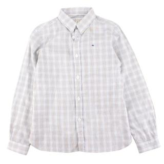 Marie Chantal boys light blue checked shirt