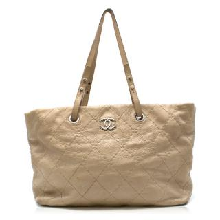 Chanel beige quilted-leather tote