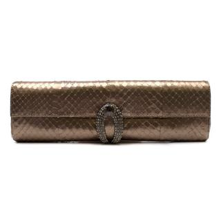 Rodo metallic gold faux snake embossed clutch bag