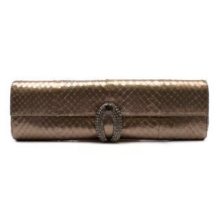 Rodo metallic gold faux snake embossed clutch bag
