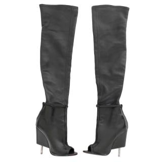 Givenchy Narlia Black Leather Screw Heel Thigh High Boots