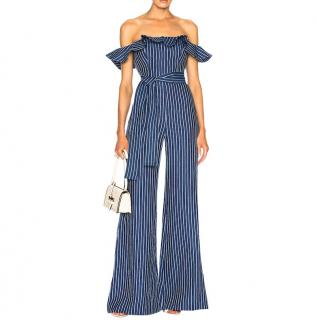 Alexis Edria Blue Linen Denim Striped Off Shoulder Frill Jumpsuit