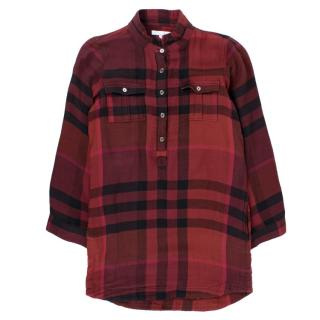 Burberry girl's red checked long sleeve shirt dress