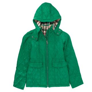 Burberry girl's green quilted hooded jacket