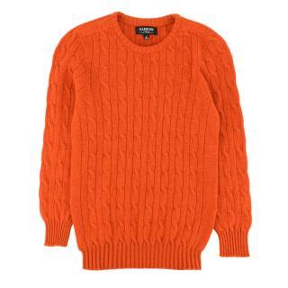 Harrods kid's orange cable-knit cashmere jumper