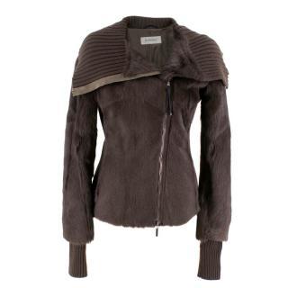 Sportmax brown goat shearling jacket