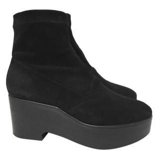Robert Clergerie Paris pull on suede platform ankle boots