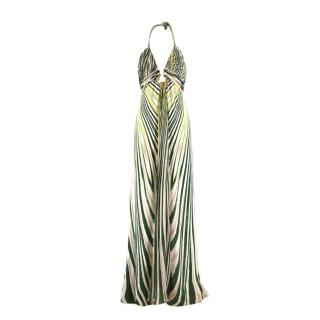 Roberto Cavalli abstract-print silk-satin halterneck gown