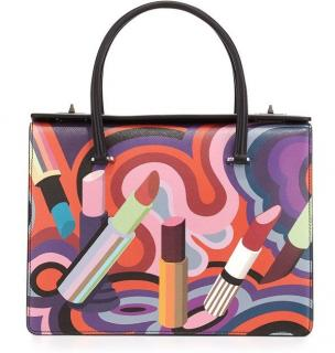 Prada lipstick print saffiano leather bag