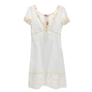 Blumarine White Broderie Anglaise Dress