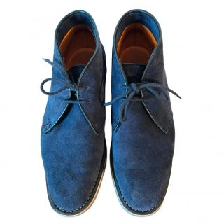 Ludwig Reiter blue suede chukka lace up boot shoe w rubber sole