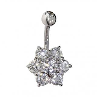 BMG Diamond Belly Bar with 2ct Cluster