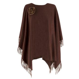 Colombo brown wool and angora-blend poncho