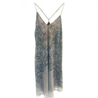 Michal Negrin Blue & Grey A Line Strappy knee length dress