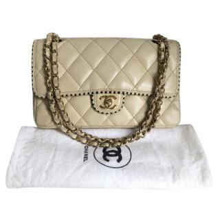 Chanel Beige & Gold Classic Single Flap Bag