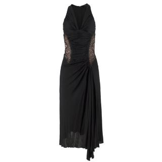 Roberto Cavalli black lace-insert ruched satin dress