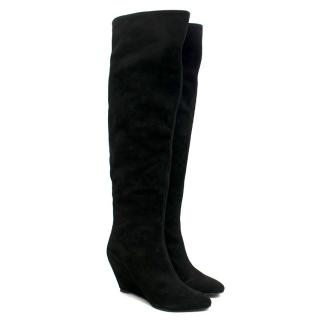 Giuseppe Zanotti black over-the-knee suede wedge boots