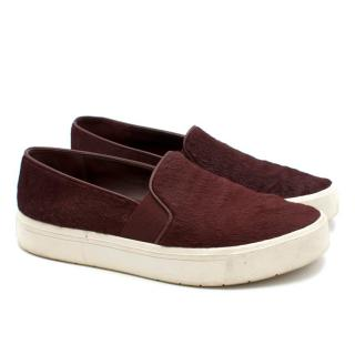 Vince burgundy calf hair slip-on trainers