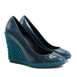 Yves Saint Laurent patent leather wedge pumps