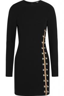 Versus Versace pin embellished mesh black dress
