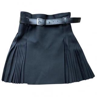 Dior silk & wool pleated black belted mini skirt