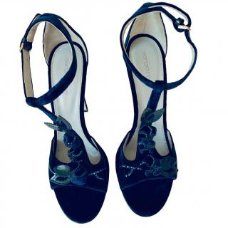 Sergio Rossi navy blue velvet sandals