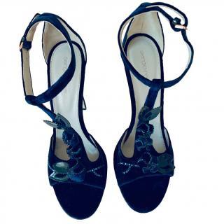 Sergio Rossi navy blue velvet sandals