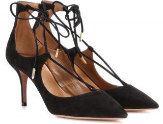 Aquazzura Christy 75 Lace-up Suede Sandals