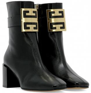 Givenchy Logo Leather Block-Heel Ankle Boots