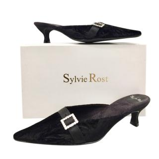 Sylvie Rost Black Crushed Velour Evening Slippers