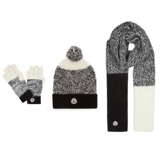 Moncler Black & White Knit Hat, Scarf & Gloves Set - New Season