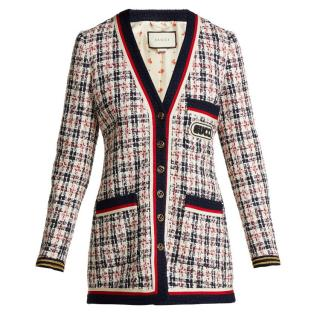 Gucci logo-applique tweed jacket