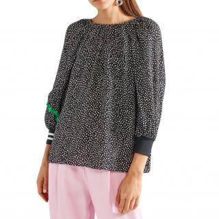 Tibi polkadot black & white top with silk green ruffle trim