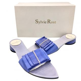 Sylvie Rost Paris Blue Bow Slides