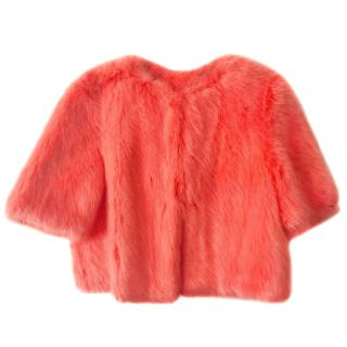 Shrimps Flamingo New Flint Cropped Faux Fur Coat