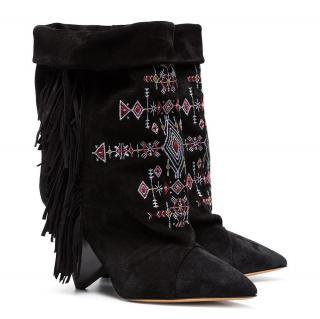 Isabel Marant Black Lesten 90 embroidered Suede boots