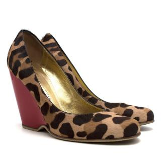 Giuseppe Zanotti leopard-print calf hair wedge pumps