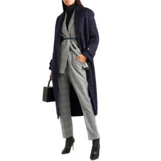 Agnona Navy Mohair Blend Coat - Current Season