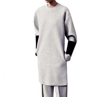 Celine contrast-cuff wool shift dress