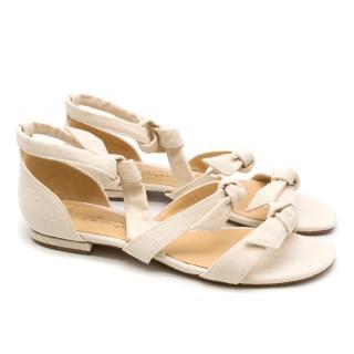 Alexandre Birman Off White Canvas Lolita Sandals - Current