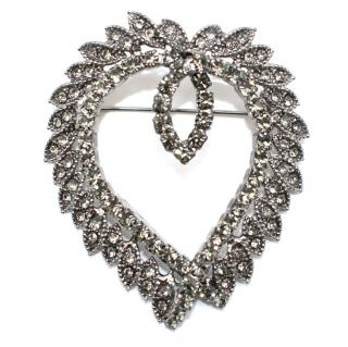 Manolo Blahnik Silver Tone Crystal Brooch