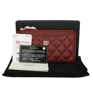 CHANEL Burgundy Caviar Iridescent Pouch O-Case