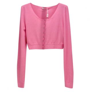Blumarine Rose Pink Soft Stretch Cropped Cardigan