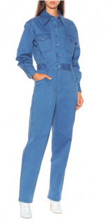 Tibi washed indigo twill pocket jumpsuit - Current Season